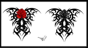 Gothic Tribal Rose Back Tat V2 by Quicksilverfury