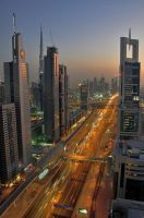 Sunset on Sheikh Zayed Road by VerticalDubai