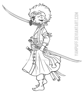 Roronoa Zoro ::Lineart Commission:: by YamPuff