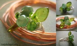 Spring Leaves Wire Wrapped Ring by LadyBelugaCrafts