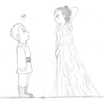 Star Wars TPM - Young Anakin and Queen Amidala by KatyTorres