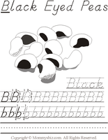 Mommysbiz | B-BlackEyedPeas Preschool Worksheet by DanaHaynes