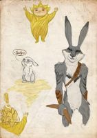 Sandy and Bunnymund sketch page by Vynndetta