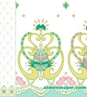 Rococo Painted Egg Border Fabric by aimeekitty