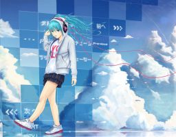 Miku Hatune  on Digital sky by zakuraryo