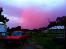 Snap of a pretty cool rainbow from my backyard by Jarryn