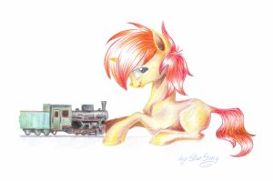 Playing with train by SkyAircobra