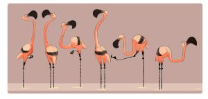 Six Flamingos by indigofox