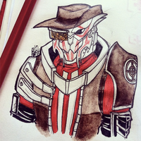 Crossover [TF2 x Mass Effect]: Turian!Sniper by Mossygator