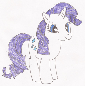 Rarity Pony Drawing by KittyJewelpet78