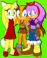 C: Zooey Fox, Perci Bandicoot, Sticks Badger by DarkSonic250