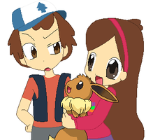 Dipper and Mabel with a Eevee by SuperMarcosLucky96
