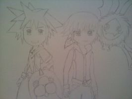Sora and Riku with friends by MochiKitsune13