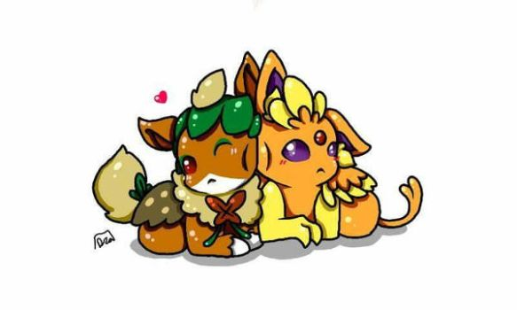 chibi couple commission by Lux-The-Umbreon