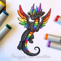 Copic Rainbow Dragon by DragonsAndBeasties