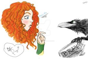 Brave: Merida and the Crow by PaYnE-hAs-No-EnD