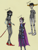 Homestuck Sketches - Terezi, Tavros, and Eridan by abbic314