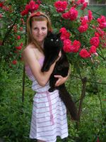 Me, roses and my cat by bettina-coman
