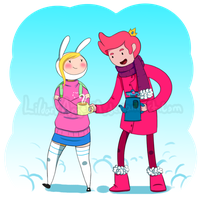 Winter Walk: Fionna and Gumball by lildarkangel99