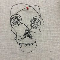 Wire skull portrait I made in my 3D design class by Maydomancer