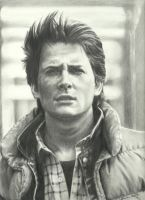 Marty McFly (Michael J. Fox) Pencil Portrait by johndibiase
