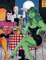 Paste Pot Pete and She Hulk on a Date by calslayton