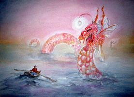 Sea Monster at Sunrise by inkeyling