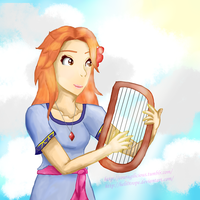 Marin playing the harp by HELI0TROPE