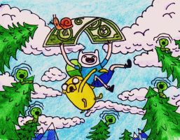 Adventure Time: Flying (color) by R-chantheblonde