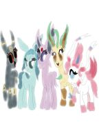 Make Eeveelutions ponies by daylover1313
