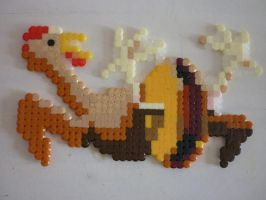 Hama Beads - Chicken + pulley by acidezabs