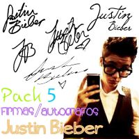 Pack 5 Firmas-Autografos Justin Bieber by Dreamflawless