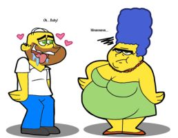 Skinny Homer and BBW Marge by Cookie-Lovey