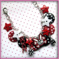 Skeleton Bunny Button Bracelet by SugarAndSpiceDIY