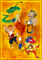 Kung fu Mascots by NocturnaDraco
