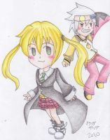Chibi Maka and Soul by inukagome123