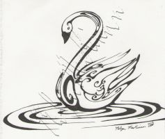 Inkblot Swan a Swimming by Eseopia