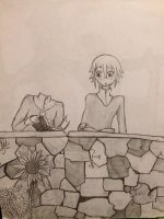 Crona and ??? Reading outside WIP by CrypticCharmander