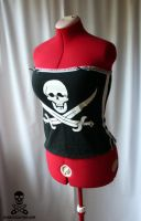 Pirate Skull Stripe Corset 4 by smarmy-clothes