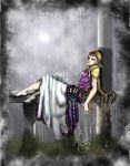 Zelda on the rain by Dinfreal
