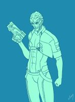 Kolyat, the Drell in Blue by miss-dronio