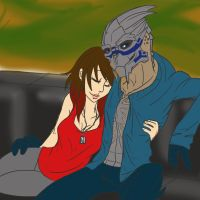 Comfy Shep and Garrus by greenmamba5
