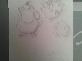 Psyduck and clefairy by Thecaitybear