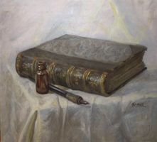 Still life with old book by artoftas
