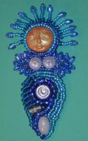 Beaded Goddess Pin - Lady Blue by jardan