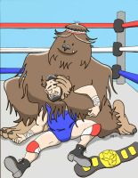 Abe Lincoln Wrestling Bigfoot For The Champ Belt by plm4