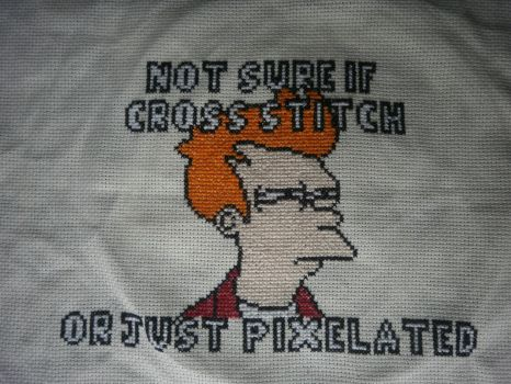 Fry Meme Futurama cross stitch by KitsuneGemma