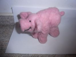 Needle felted pink piggy plushie by ArcticIceWolf