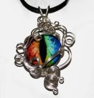 Wire Wrap Evil Rainbow Dragon Eye Pendant by Create-A-Pendant