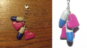 Heart/Pill charm by MeticulousBlue